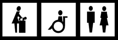 Wickeltisch, Rollstuhl-WC, normale Toilette